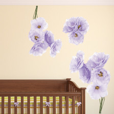 Lavender Peony Flowers Bouquet Wall Decal Sticker Rose  Art Peel and Stick Floral Art Decor Removable and Reusable #3032