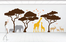 Africa Safari Tree Decal Set Elephant Giraffe Impala Birds #1394