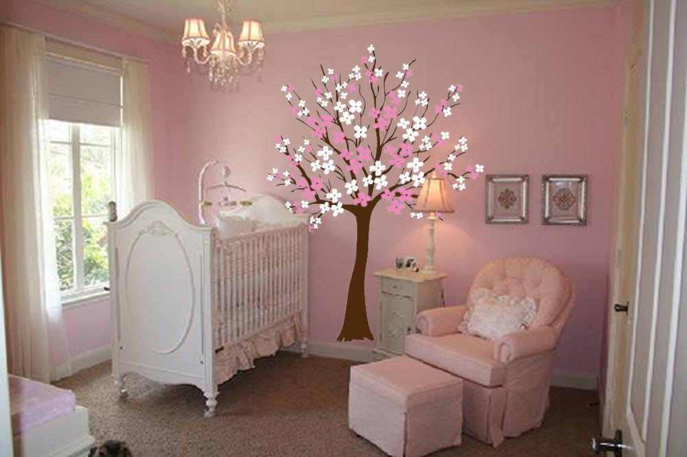 decoracion vintage habitacion nia large wall cherry tree nursery decal magnolia with flower blossoms