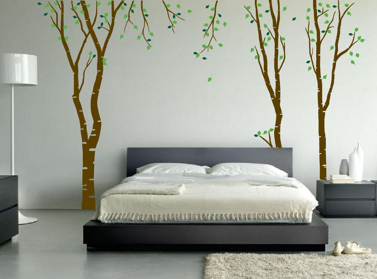 Large wall birch tree decal forest kids vinyl sticker for Bedroom wall decals