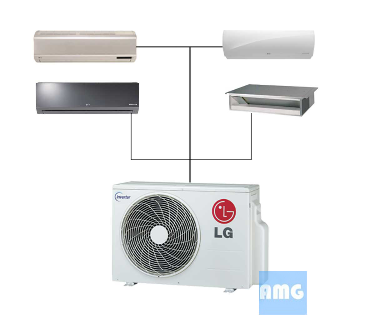 LG Mini Split Quad Zone Ductless AC Units AMG #0E66BD