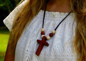 WOODEN CROSS NECKLACE WITH SIX BEADS
