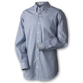 Peter Millar dress shirt with spread collar with removable stays, double-button barrel cuff, box-pleat center back yoke, drop tail hem.