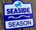 "Seaside Beach Badge Car Magnet 7"" x 7"""