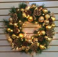 Gold Ornament Ball Silk Wreath