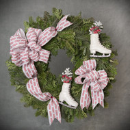 Red and White Ice Skate Wreath