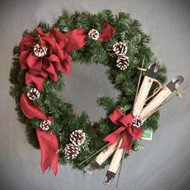 Red Burlap and Skis Wreath