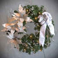 Silver Poinsettia Silk Wreath