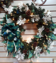Peacock and Snowflake Wreath
