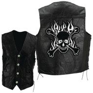 Mens Buffalo Leather Biker vest with Skull and Crossbones