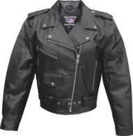 Ladies Basic Split Cowhide Motorcycle Jacket