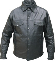 Mens Lambskin Leather Biker Shirt