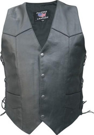 Men's Basic side laced Buffalo Leather Vest