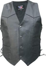 Men's Basic side laced Buffalo Leather Vest
