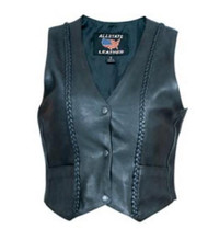 Ladies Vest with Vertical Braided Front and Back