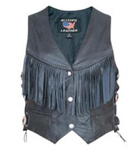 Ladies Fringed Vest with Conchos