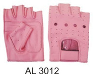 Ladies Pink All leather Fingerless Gloves