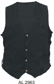 Men's Black Denim Vest with side laces