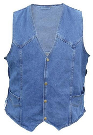 Men's Blue Denim Vest with side laces