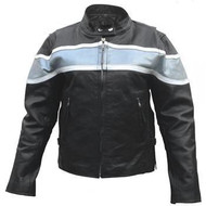 Ladies Silver Two Tone on Black Motorcycle Jacket