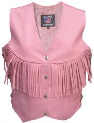 Ladies Fringed Pink Leather Vest