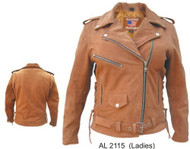 Ladies Brown Leather Motorcycle jacket