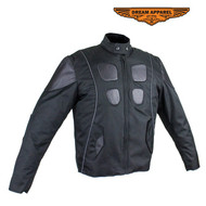 Mens Leather & Textile Motorcycle Jacket w/ Z/O Lining