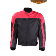 Mens Red on Black Mesh & Nylon Motorcycle Jacket