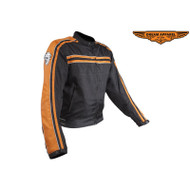 Mens Orange on Black Mesh & Nylon Motorcycle Jacket