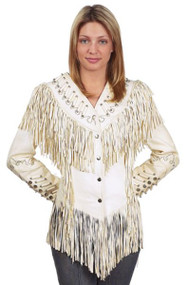 Ladies Off-White Leather Jacket w/ Beads, Studs, Bone & Fringe.