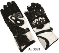 Men's Sport bike riding gloves in White/Black