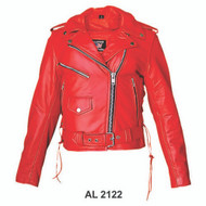 Ladies RED Motorcycle Jacket