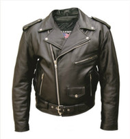 Men's Split Plain Cowhide Biker Jacket