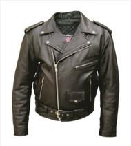 Mens Motorcycle Jacket in Split Cowhide Leather.