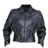 Ladies Fringed Leather Motorcycle Jacket