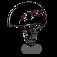Barbed Rose D.O.T. Daytona Skull Cap Helmet