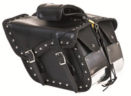 PVC Motorcycle Saddlebag With Chrome Plate At Bottom Of Saddlebag