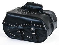 PVC Motorcycle Saddlebag With Velcro Cover and Studs