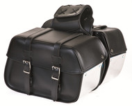 Plain PVC Motorcycle Saddlebag With Chrome Plates