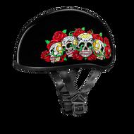 D.O.T. DAYTONA SKULL CAP- W/ ROSE SKULLS