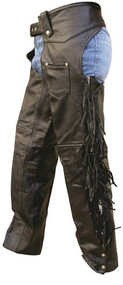 Lined Buffalo Leather Chaps with Fringe and Braid