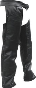 Lined Buffalo Leather Chaps with Antique Hardware