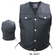 MEN'S DENIM STYLE VEST IN ANALINE LEATHER