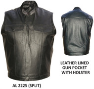 MEN'S DENIM STYLE LEATHER VEST WITH GUN POCKET