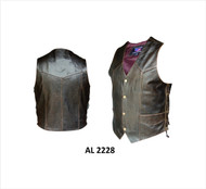 MEN'S RETRO BROWN PLAIN VEST WITH SIDE LACES