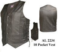 Men's 10 Pockets Vests in Split Cowhide Leather