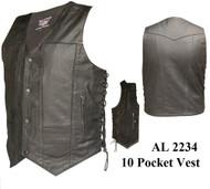 Men's 10 Pockets Vests in Split Cowhide Leather