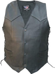 Men's Basic Naked Buffalo Leather Side-lace Vest