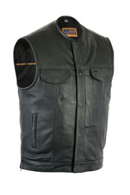 Drum Dyed Naked Cowhide Vest with Upgraded Style Gun Pockets