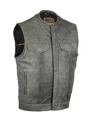 Premium Naked Cowhide Vest with Concealed Snaps and Hidden Zipper